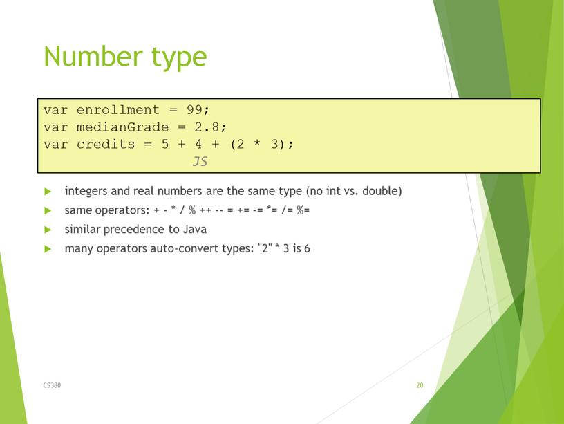Number type integers and real numbers are the same type (no int vs