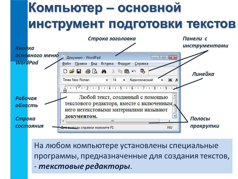 На любом компьютере установлены специальные программы, предназначенные для создания текстов, - текстовые редакторы
