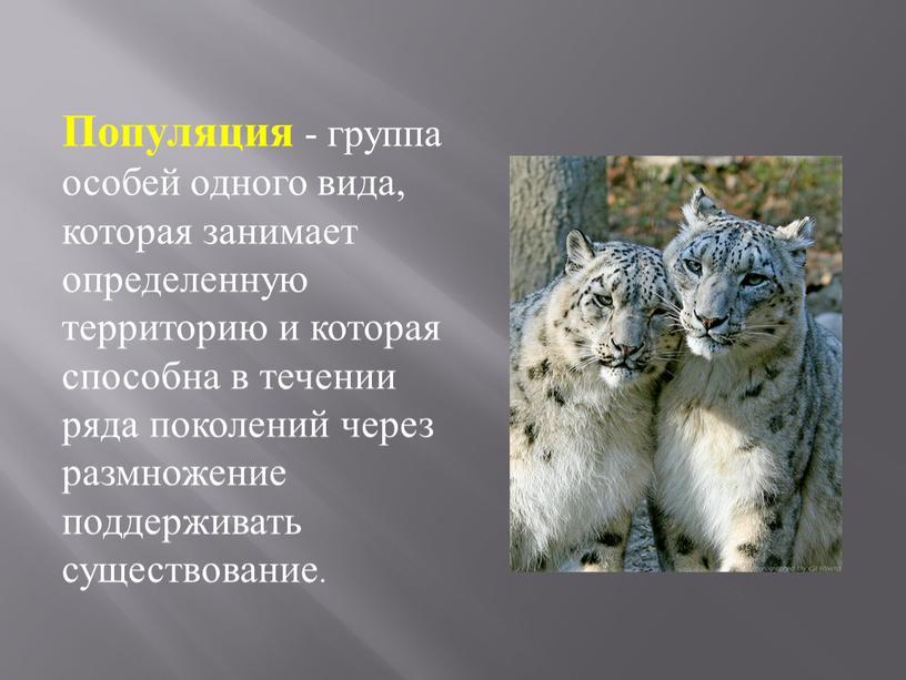Популяция - группа особей одного вида, которая занимает определенную территорию и которая способна в течении ряда поколений через размножение поддерживать существование