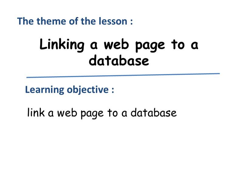 Linking a web page to a database