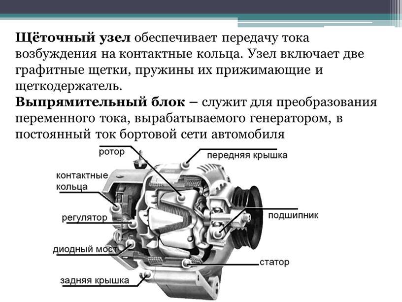 Щёточный узел обеспечивает передачу тока возбуждения на контактные кольца