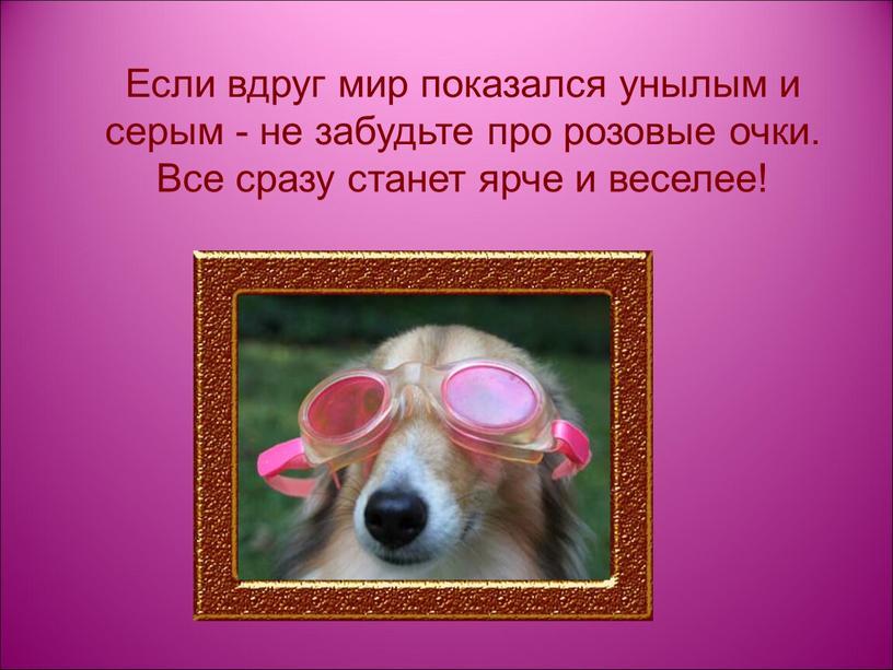 Если вдруг мир показался унылым и серым - не забудьте про розовые очки