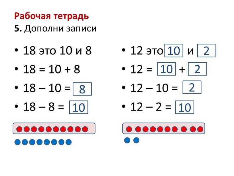 Рабочая тетрадь 5. Дополни записи 18 это 10 и 8 18 = 10 + 8 18 – 10 = 18 – 8 = 12 это…