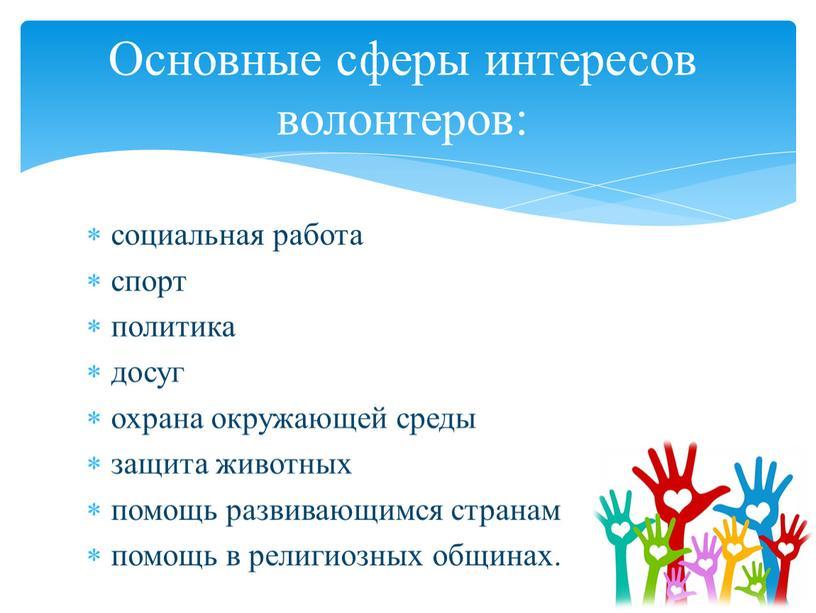 Основные сферы интересов волонтеров:
