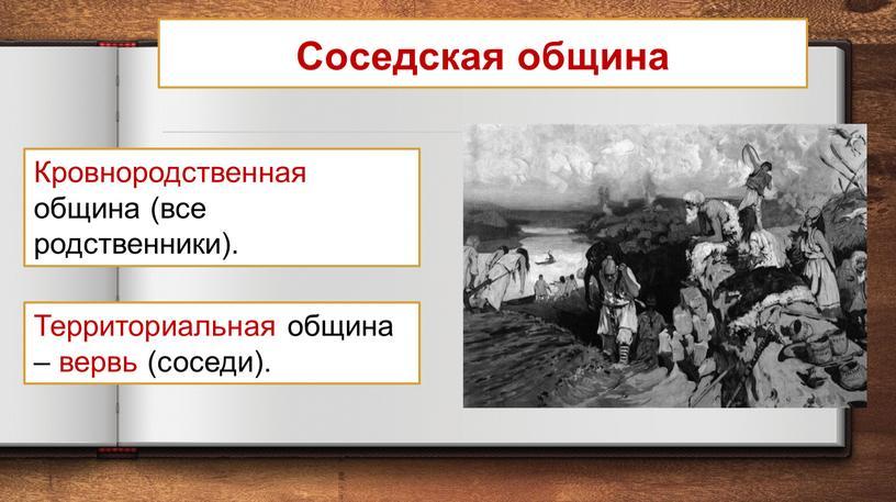 Соседская община Территориальная община – вервь (соседи)