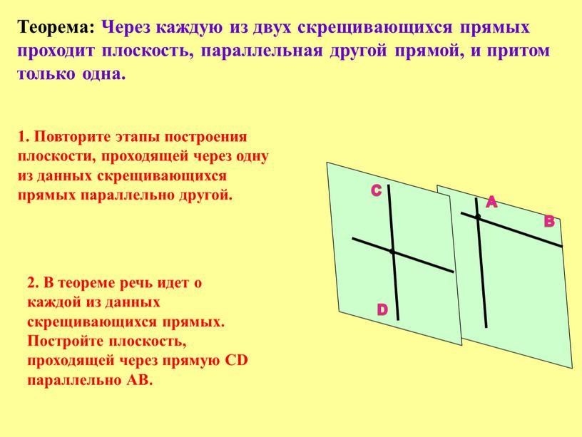 Теорема: Через каждую из двух скрещивающихся прямых проходит плоскость, параллельная другой прямой, и притом только одна