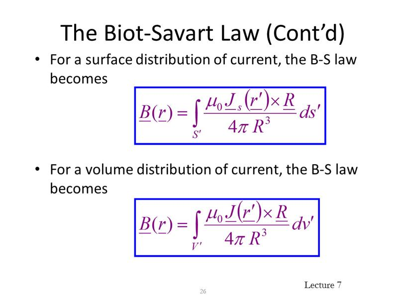 The Biot-Savart Law (Cont'd) For a surface distribution of current, the
