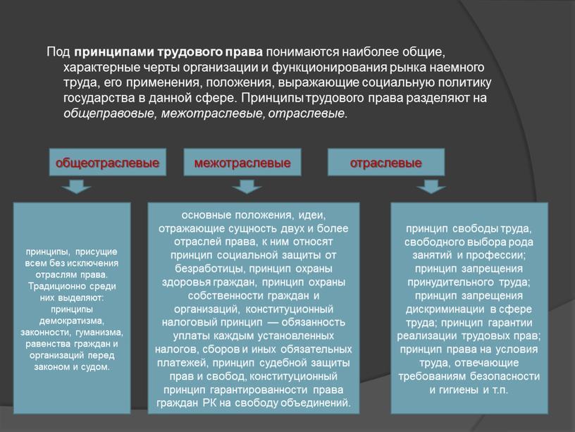 Под принципами трудового права понимаются наиболее общие, характерные черты организации и функционирования рынка наемного труда, его применения, положения, выражающие социальную политику государства в данной сфере