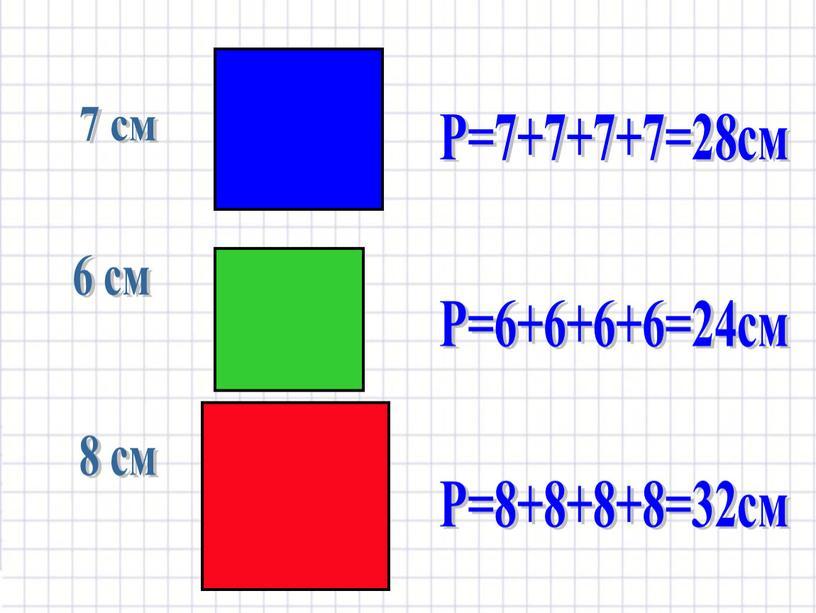 Р=7+7+7+7=28см Р=6+6+6+6=24см Р=8+8+8+8=32см