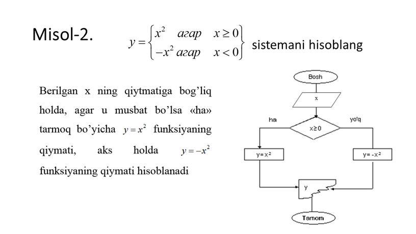 Misol-2. sistemani hisoblang