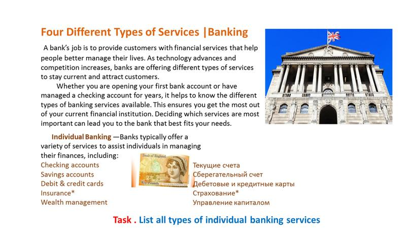 Four Different Types of Services |Banking