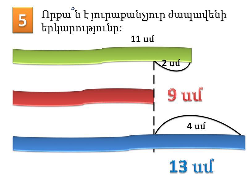 5 Որքա՞ն է յուրաքանչյուր ժապավենի երկարությունը: 11 սմ 2 սմ 4 սմ 9 սմ 13 սմ