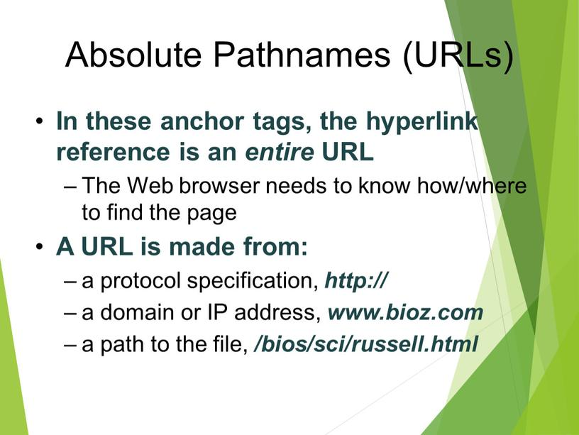 Absolute Pathnames (URLs) In these anchor tags, the hyperlink reference is an entire