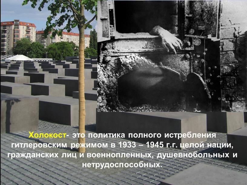 Холокост- это политика полного истребления гитлеровским режимом в 1933 – 1945 г