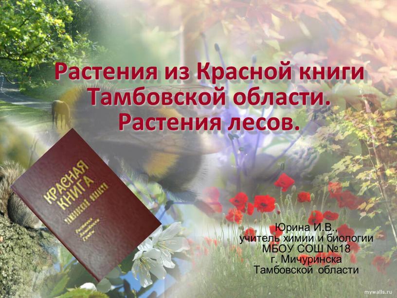 Растения из Красной книги Тамбовской области