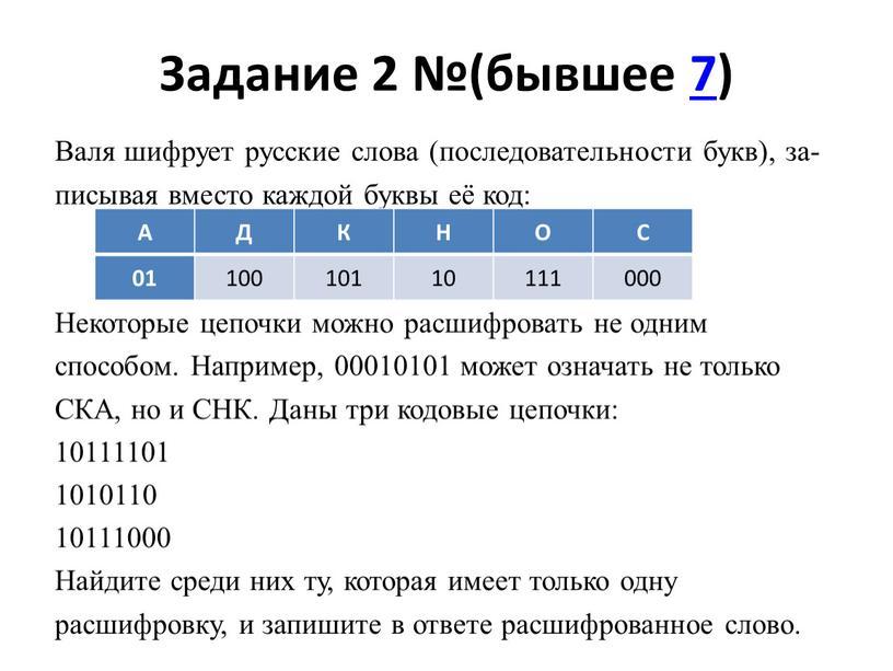 Задание 2 №(бывшее 7) Валя шифрует русские слова (последовательности букв), записывая вместо каждой буквы её код: