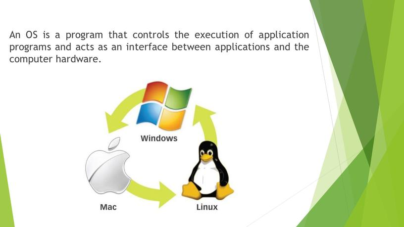 An OS is a program that controls the execution of application programs and acts as an interface between applications and the computer hardware