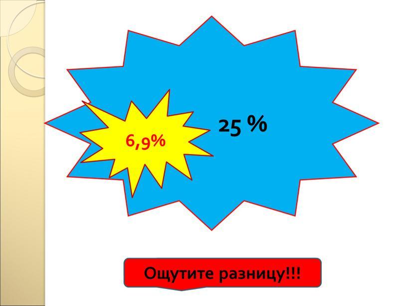25 % 6,9% Ощутите разницу!!!