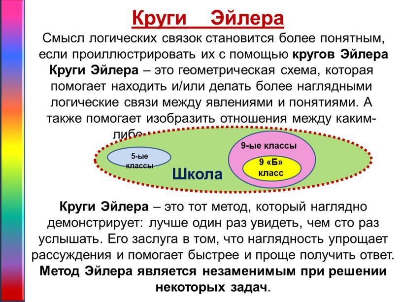 Смысл логических связок становится более понятным, если проиллюстрировать их с помощью кругов
