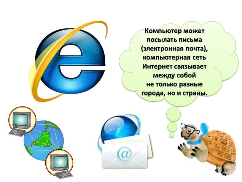 Компьютер может посылать письма (электронная почта), компьютерная сеть