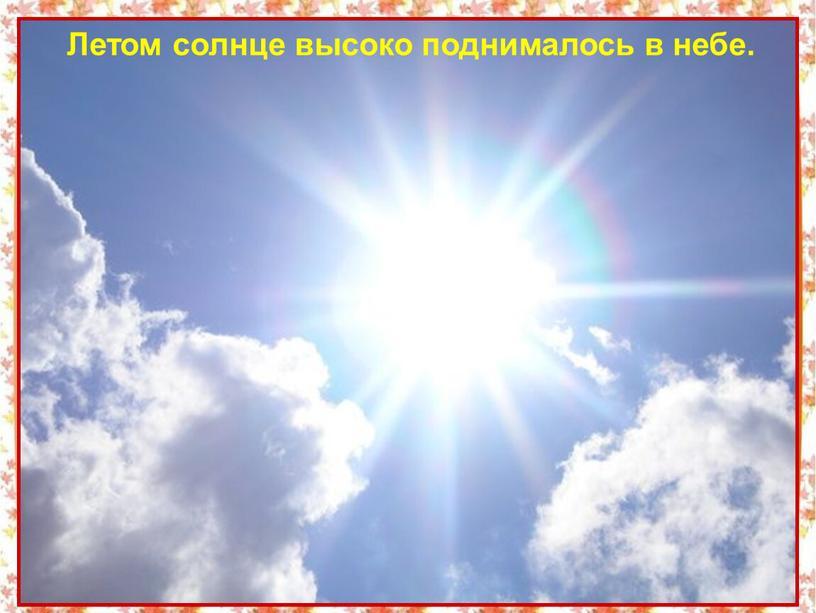Летом солнце высоко поднималось в небе