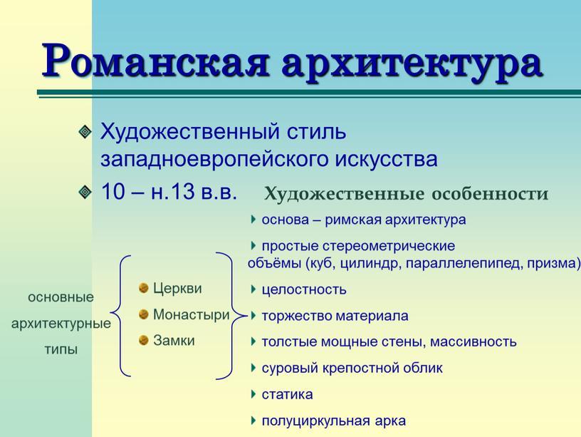 Романская архитектура Художественный стиль западноевропейского искусства 10 – н