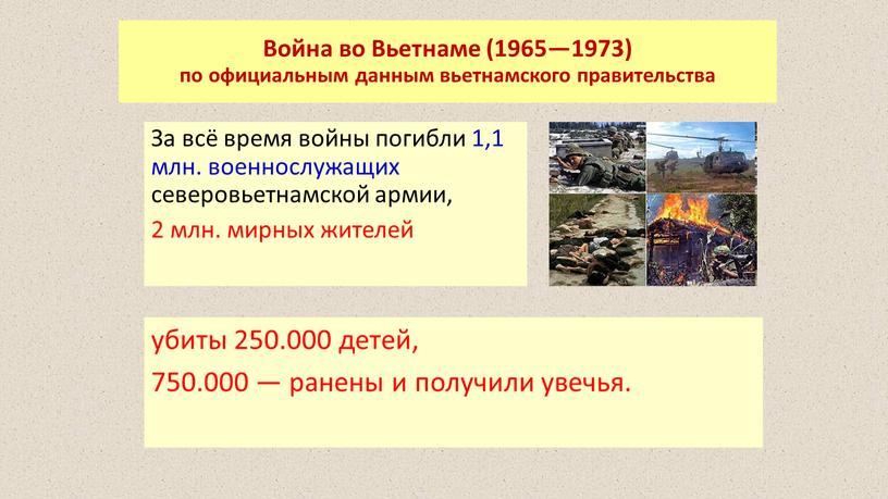 Война во Вьетнаме (1965—1973) по официальным данным вьетнамского правительства
