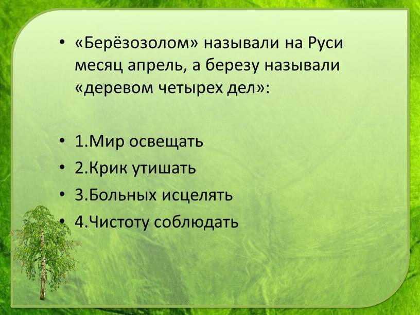 Берёзозолом» называли на Руси месяц апрель, а березу называли «деревом четырех дел»: 1