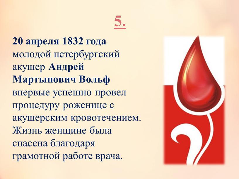 Андрей Мартынович Вольф впервые успешно провел процедуру роженице с акушерским кровотечением