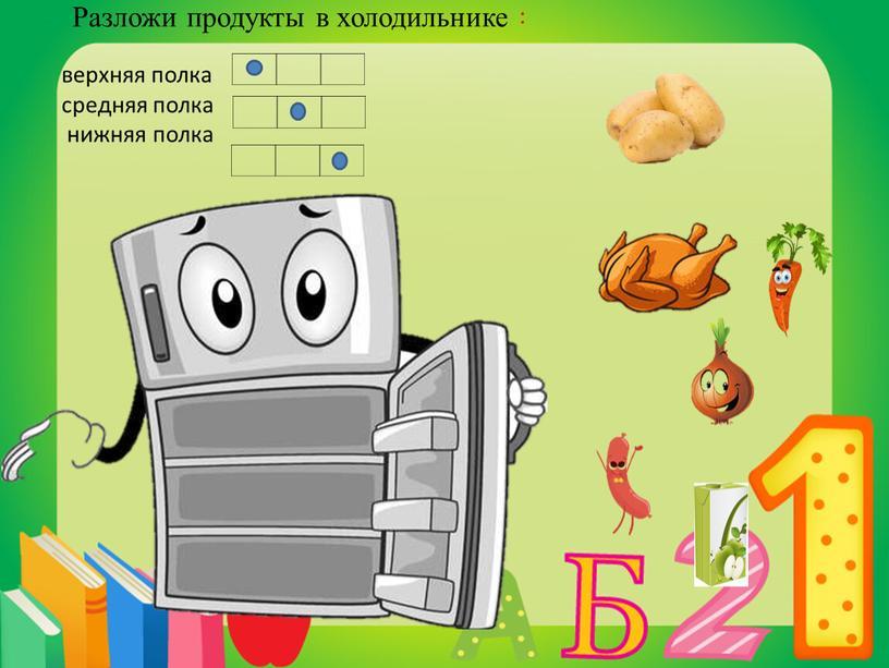 Разложи продукты в холодильнике : верхняя полка средняя полка нижняя полка