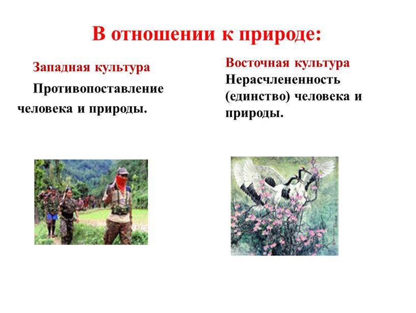 В отношении к природе: Западная культура