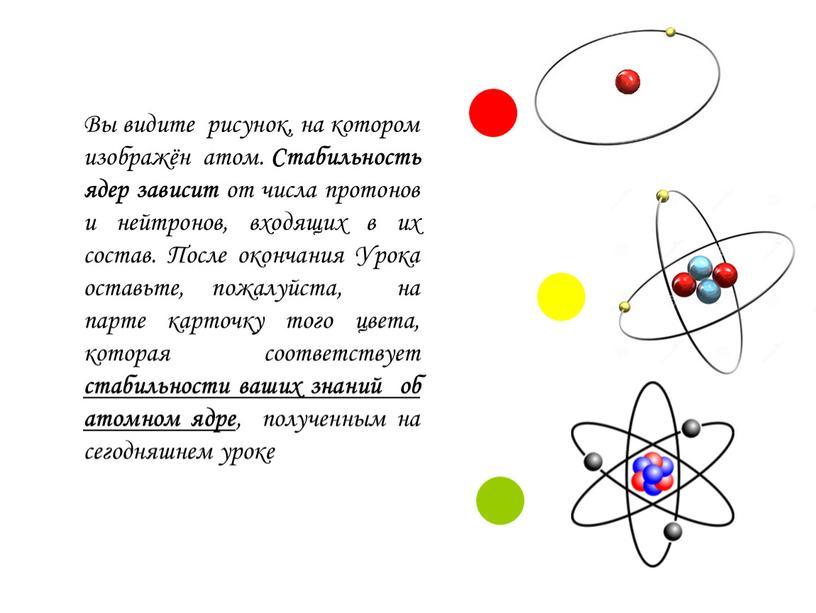 Вы видите рисунок, на котором изображён атом