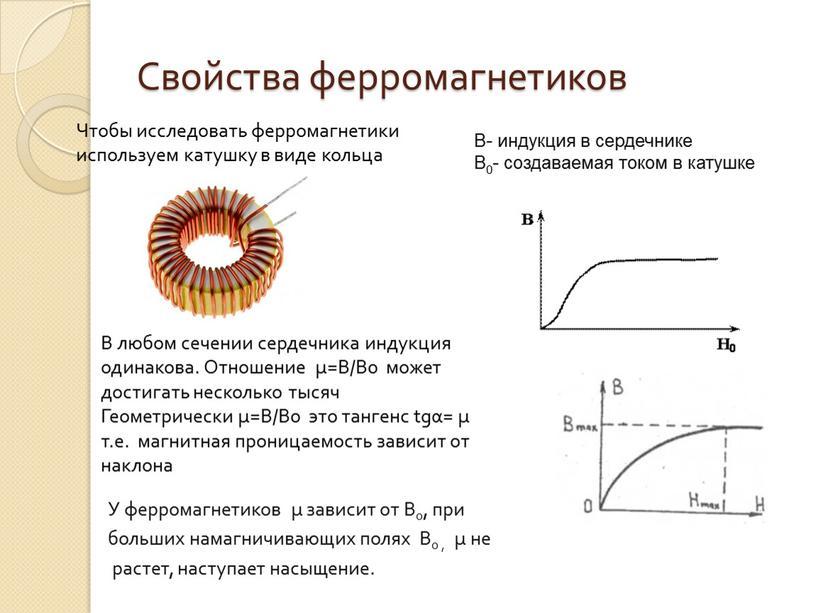 Свойства ферромагнетиков В- индукция в сердечнике
