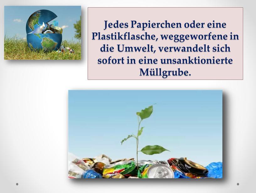 Jedes Papierchen oder eine Plastikflasche, weggeworfene in die