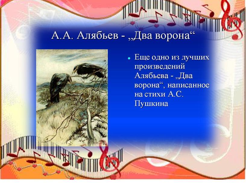 МУЗЫКАЛЬНАЯ ПРЕЗЕНТАЦИЯ К 230- ЛЕТИЮ А.А.АЛЯБЬЕВА