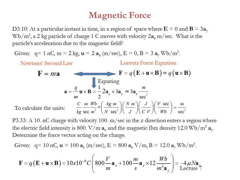 Magnetic Force D3.10: At a particular instant in time, in a region of space where