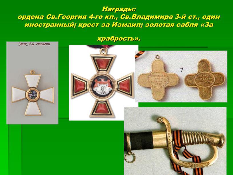 Награды: ордена Св.Георгия 4-го кл