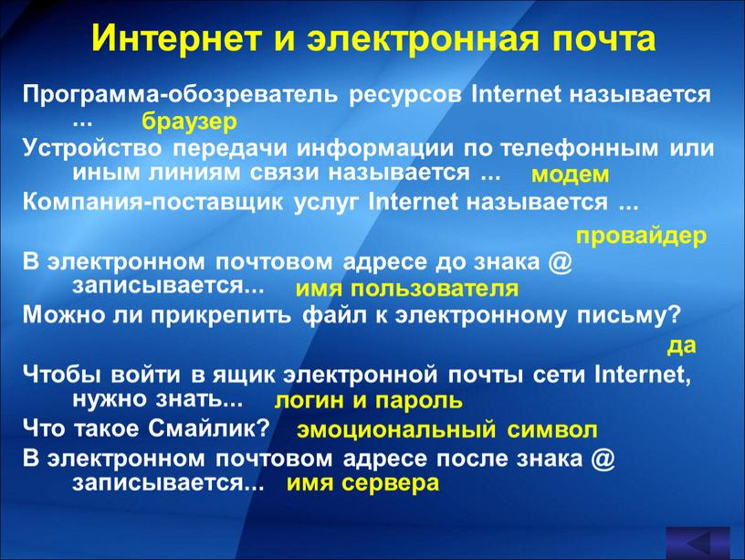 Интернет и электронная почта Программа-обозреватель ресурсов