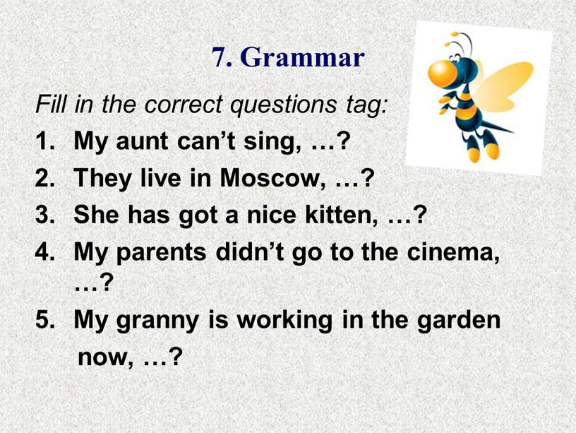 Grammar Fill in the correct questions tag: