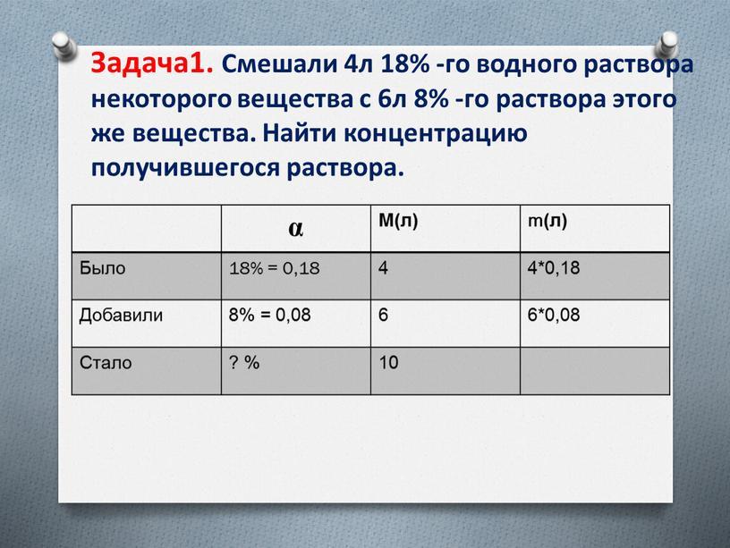 Задача1. Смешали 4л 18% -го водного раствора некоторого вещества с 6л 8% -го раствора этого же вещества