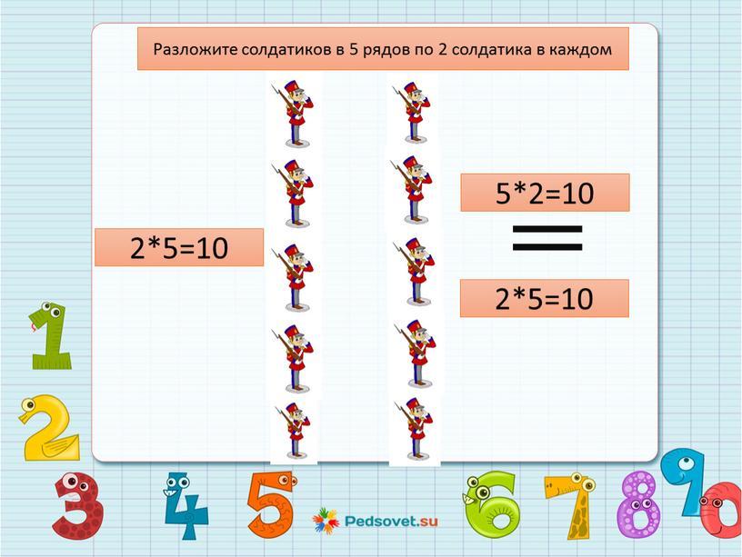 Разложите солдатиков в 5 рядов по 2 солдатика в каждом 2*5=10 2*5=10 5*2=10