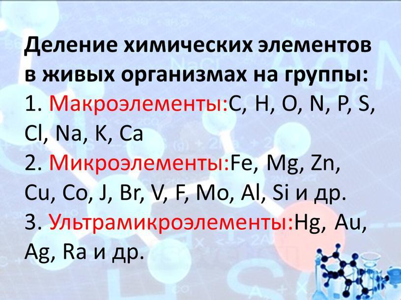 Деление химических элементов в живых организмах на группы: 1