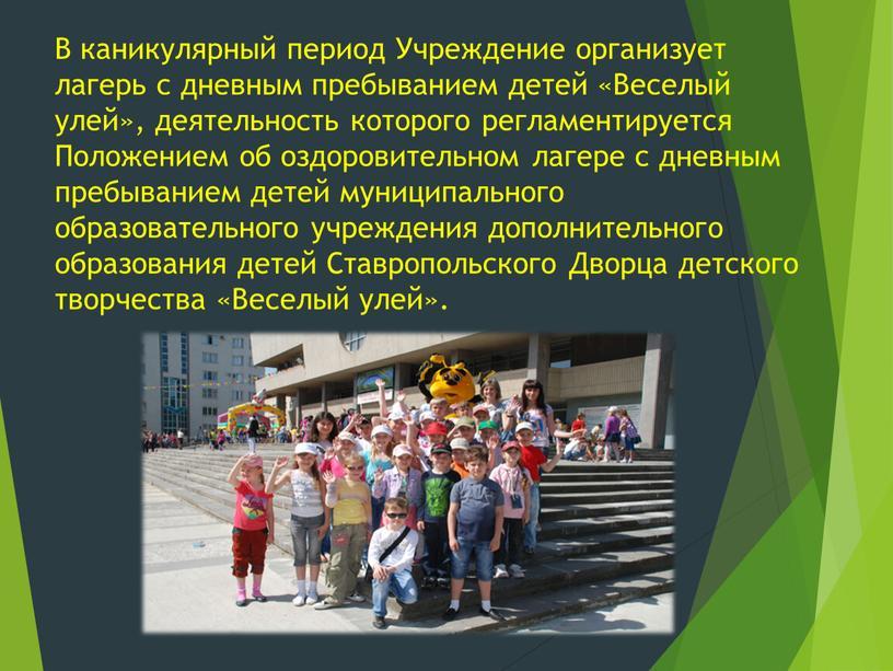 В каникулярный период Учреждение организует лагерь с дневным пребыванием детей «Веселый улей», деятельность которого регламентируется