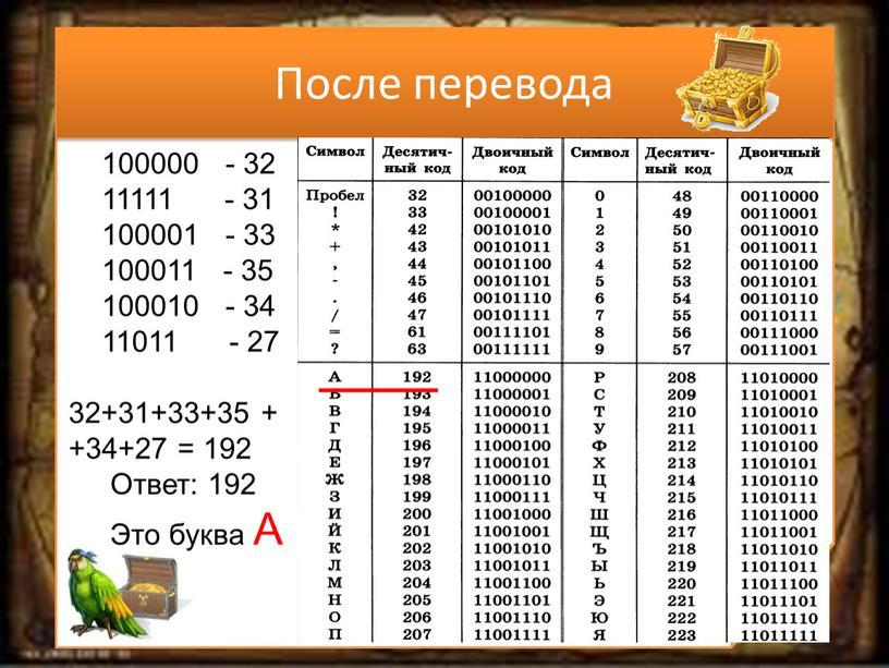 После перевода 100000 - 32 11111 - 31 100001 - 33 100011 - 35 100010 - 34 11011 - 27 32+31+33+35 + +34+27 = 192