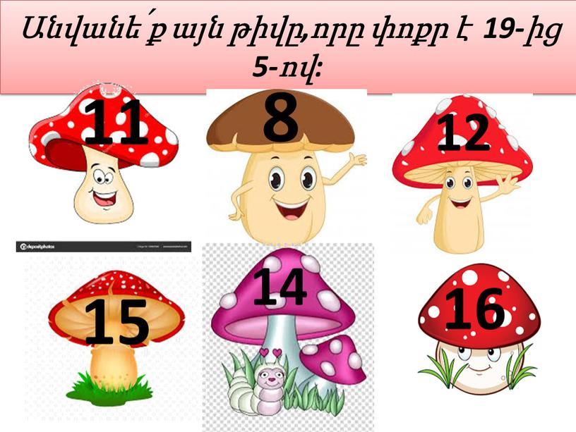 Անվանե՛ք այն թիվը,որը փոքր է 19-ից 5-ով: 14 11 8 12 15 16