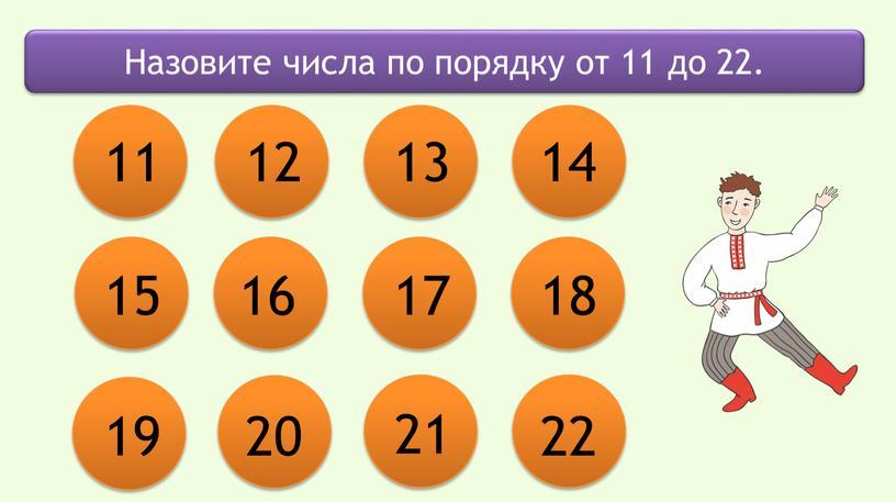 Назовите числа по порядку от 11 до 22