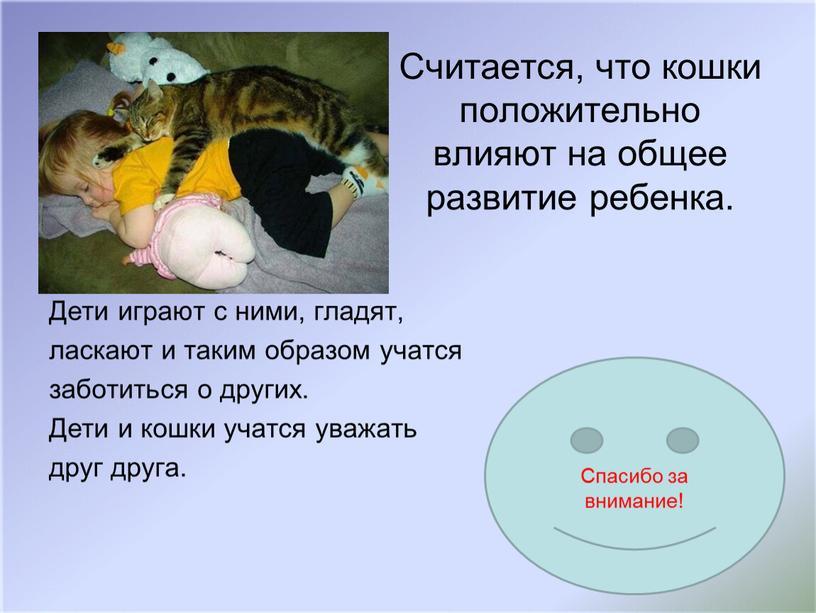 Считается, что кошки положительно влияют на общее развитие ребенка