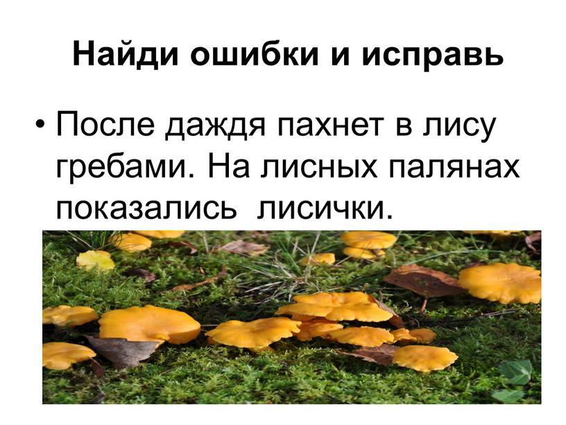 Найди ошибки и исправь После даждя пахнет в лису гребами