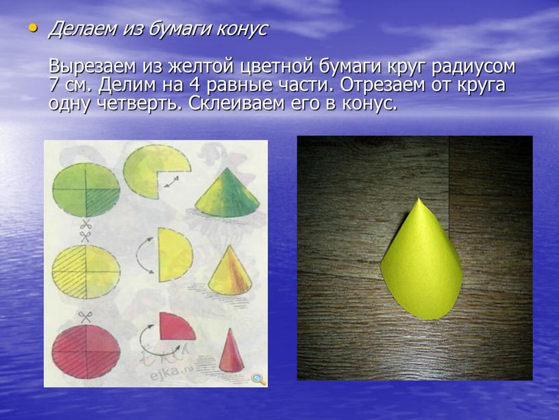 Делаем из бумаги конус Вырезаем из желтой цветной бумаги круг радиусом 7 см