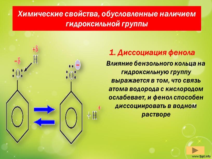 Химические свойства, обусловленные наличием гидроксильной группы 1